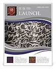 Silver metallic background with ornament Flyer Template