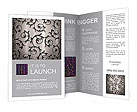 Silver metallic background with ornament Brochure Templates