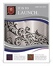 Silver metallic background with ornament Flyer Templates