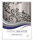 Silver metallic background with ornament Poster Templates