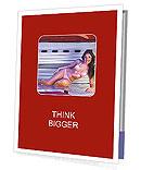 Attractive brunette sunbathing in the solarium Presentation Folder