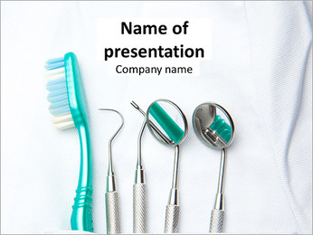 Tools for the treatment of teeth and toothbrush to keep teeth PowerPoint Template