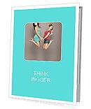 Two girlfriends jumped together Presentation Folder