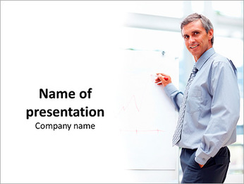 Businessman showing a presentation PowerPoint Template