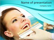 The dentist selects the shade of the teeth girl PowerPoint Templates