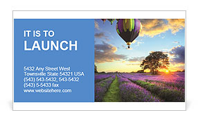 Multi-colored balloons on a background of a sunset Business Card Template
