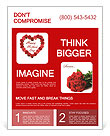 Mother's Day heart made of red roses Flyer Template