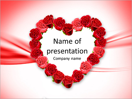 mother's day heart made of red roses powerpoint template, Modern powerpoint
