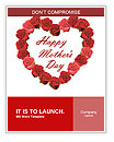 Mother's Day heart made of red roses Word Templates
