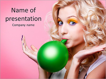Blonde inflates ball PowerPoint Template