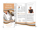 Business woman adjusts his glasses Brochure Templates