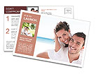 Happy couple at the resort Postcard Template