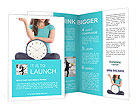 Girl holding clock and money time is money Brochure Template