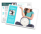 Girl holding clock and money time is money Postcard Template