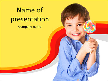 A little boy holding a piece of candy PowerPoint Template