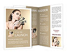 Beautiful girl with brushes for make-up Brochure Templates