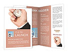 A hand is holding a stopwatch Brochure Templates