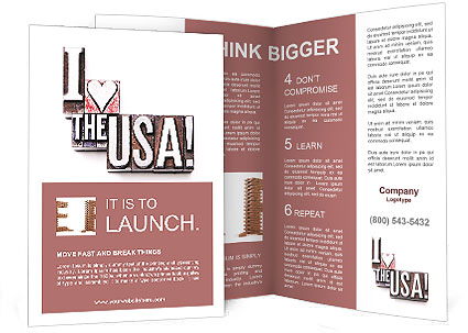 the phrase i love the usa brochure template