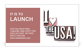 "The phrase ""I Love the USA!"" Business Card Template"