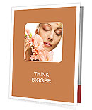 Close-up beautiful fresh face with gladiolus flowers in her hands Presentation Folder