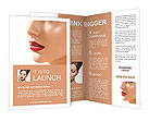 Flawless girl with bright red lipstick on her lips Brochure Templates
