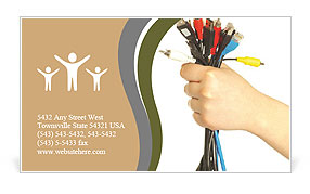 A lot of computer cables in hand Business Card Template