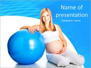 Pregnant girl with ball on a blue background simulator PowerPoint Templates