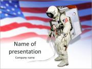 Astronaut on the background of the USA flag PowerPoint Templates