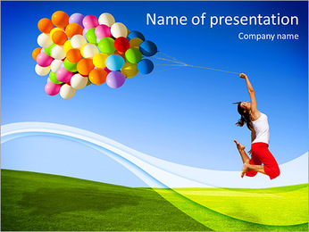 Happy girl on green meadow let the balloons PowerPoint Template