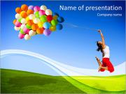 Happy girl on green meadow let the balloons PowerPoint Templates