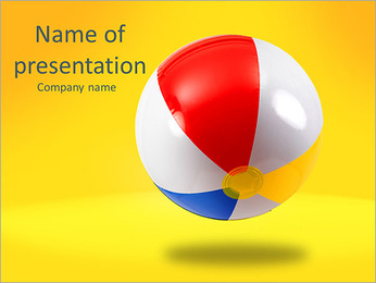 A beach ball isolated against a white background PowerPoint Template