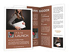 Strictly dressed girl holding a laptop Brochure Templates