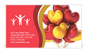 Party balloons heart shaped birthday celebration decoration multicolor red yellow. Love romantic val Business Card Templates