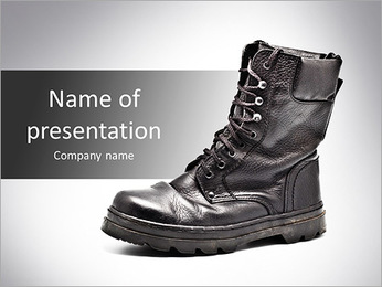 Black Army boots PowerPoint Template