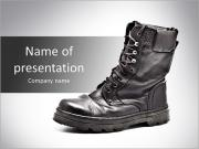Black Army boots PowerPoint Templates