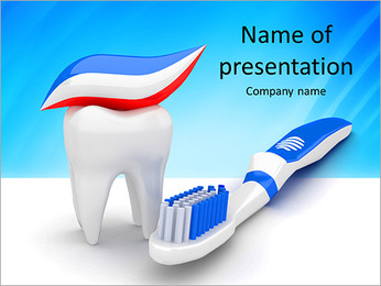 Toothpaste, toothbrush and tooth PowerPoint Template