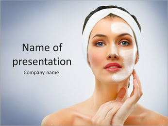 A model presents a face cream PowerPoint Template