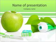 All for healthy teeth apple toothpaste and brush PowerPoint Templates
