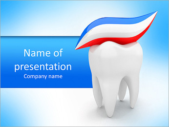 Toothpaste on tooth PowerPoint Template