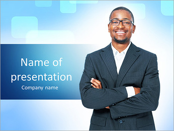 Black guy in a suit PowerPoint Template