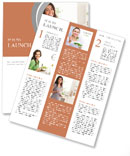 A young pregnant woman is standing with a smile in the kitchen Newsletter Templates