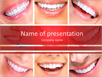 Photo collage of beautiful smiles PowerPoint Template