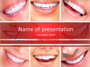 Photo collage of beautiful smiles PowerPoint Templates
