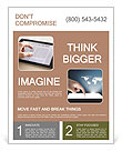 The hand turns the news on the tablet Flyer Templates