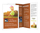 Happy young girl playing with balloons on the lawn Brochure Templates