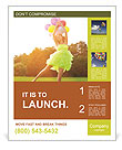 Happy young girl playing with balloons on the lawn Poster Template