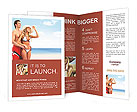 Happy young couple relaxing on the beach Brochure Templates