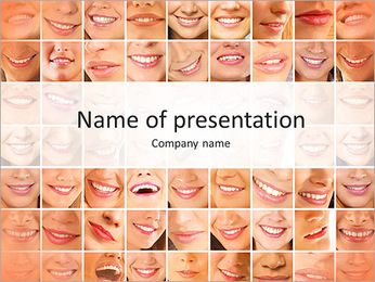 Photo collage of smiles PowerPoint Template