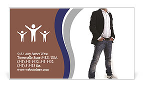 Modern man posing Business Card Template