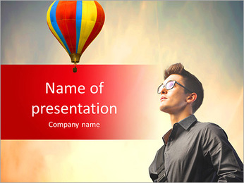 Man and balloon PowerPoint Template